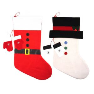 Santa or Snowman - Luxury Felt Christmas Stockings & Mittens 50cm